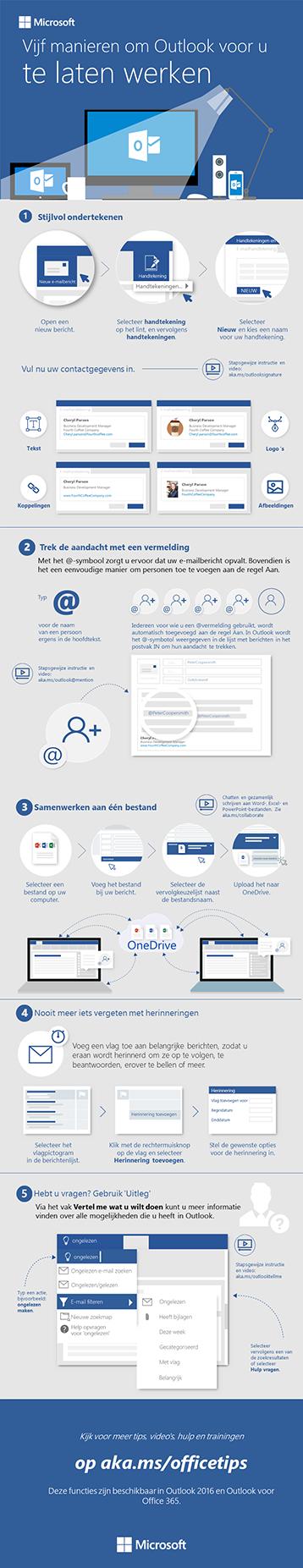 Vijf stappen voor leukere e-mail in Outlook 2016