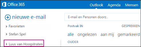 Gedeelde map wordt weergegeven in Outlook Web App