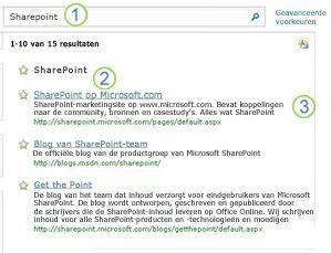 Drie meest relevante treffers voor SharePoint Server worden bovenaan de pagina met zoekresultaten weergegeven