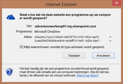 Schermopname van dialoogvenster in Internet Explorer waarin toestemming wordt gevraagd Microsoft OneDrive te openen