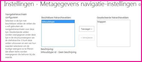Instellingen voor metagegevensnavigatie stellen u in staat metagegevensvelden op te geven die kunnen worden toegevoegd aan een navigatiestructuurbesturingselement
