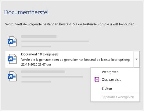 Een origineel document dat voor het laatst is opgeslagen door de gebruiker weergegeven in het taakvenster Documenten herstellen