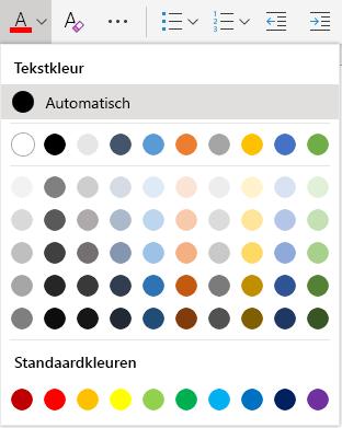 Menu Voor het selecteren van tekstkleur in Word Online