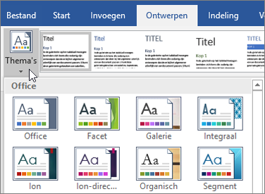 Thema's voor Word in Office 365