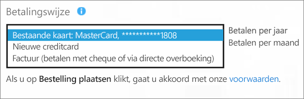 Schermafbeelding van de sectie 'Betalingsmethode' op de pagina 'Hoe wilt u betalen?', met de vervolgkeuzelijst voor betalingsopties uitgevouwen.