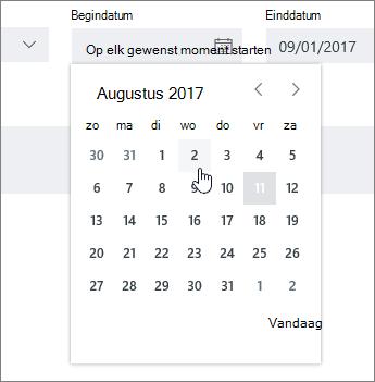 Instellen van de datumvelden in taakgegevens
