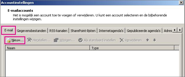 Schermafbeelding van het tabblad E-mail in het dialoogvenster Accountinstellingen.