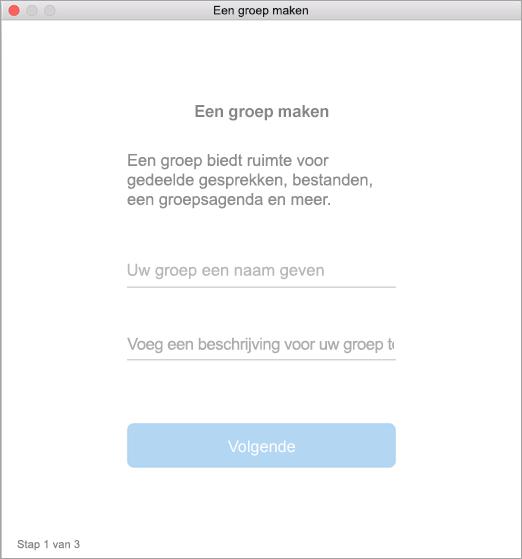 Gebruikersinterface Een groep maken op de Mac