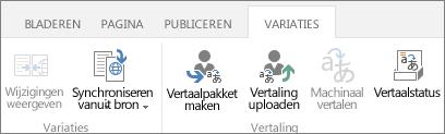 Schermafbeelding van het tabblad Variaties op een doelsite. Het tabblad bevat twee groepen: Variatie en Vertaling.