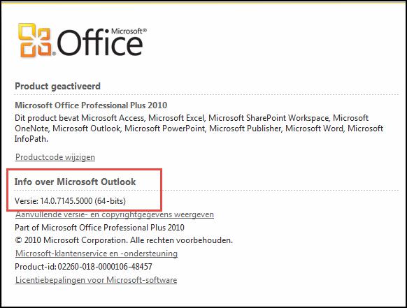 Schermafbeelding van de pagina waar u de versie van Outlook 2010 kunt controleren, onder Info over Microsoft Outlook
