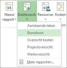 Menu Dashboard op het tabblad Rapport