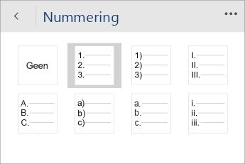 Schermafbeelding van het menu Nummering in Word Mobile met een nummeringsstijl geselecteerd.