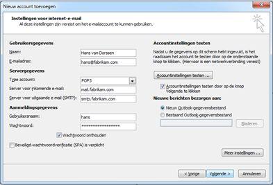 Dialoogvenster Handmatige accountconfiguratie