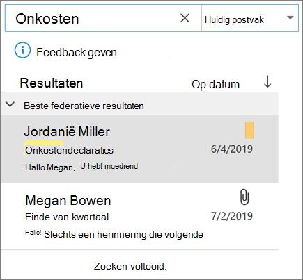 Uw e-mail in Outlook zoeken met de zoekfunctie
