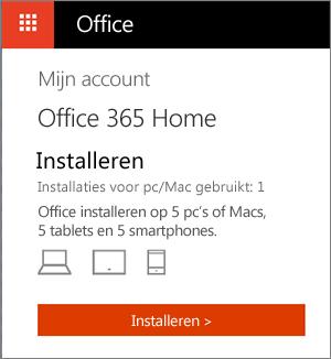 De pagina Mijn accounts in de Office Store met de knop Installeren