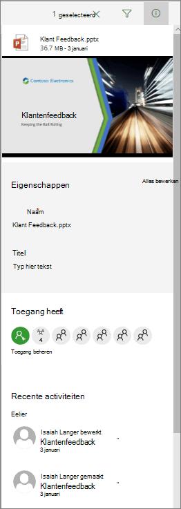Details van het infovenster in een document