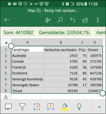 Excel heeft uw gegevens geconverteerd en retourneert het naar het raster.
