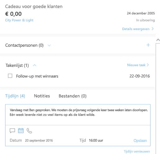 Een nieuwe activiteit toevoegen in Outlook Customer Manager