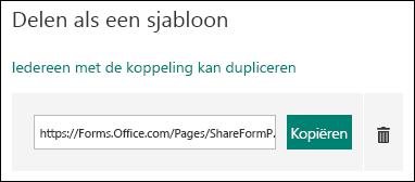 Een URL-koppeling voor een formuliersjabloon naast de knoppen Kopiëren en Verwijderen.