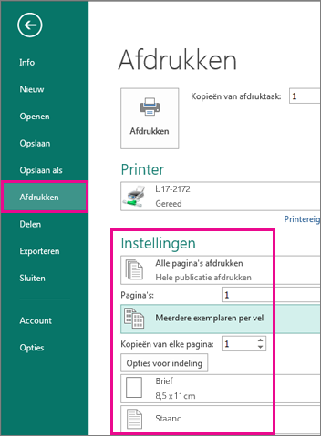 Klik op bestand, afdrukken, naar de weergave-instellingen voor afdrukken in Publisher 2013