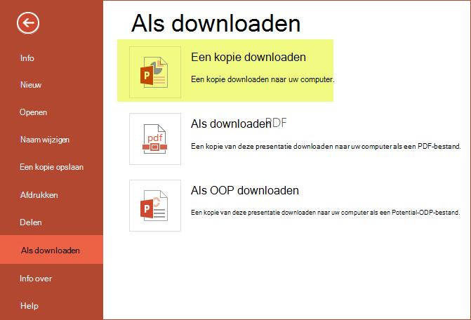 Gebruik een kopie naar de presentatie opslaan op uw computer downloaden