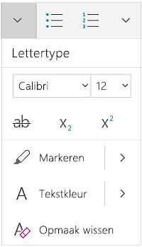 Menu Lettertype in staande stand