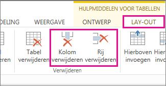 Afbeelding van de opdrachten Tabel verwijderen en Rij verwijderen bij Hulpmiddelen voor tabellen > Indeling op het lint