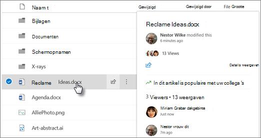 Schermafbeelding van de hovercard van het bestand dat wordt weergegeven wanneer u naar een bestand in OneDrive of SharePoint verwijst