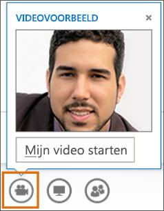Schermafbeelding van Mijn video starten in een vergadering met een voorbeeld van de video