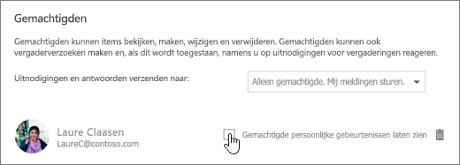 Een schermafbeelding van het selectievakje Toestaan dat gedelegeerde privégebeurtenissen kan weergeven.