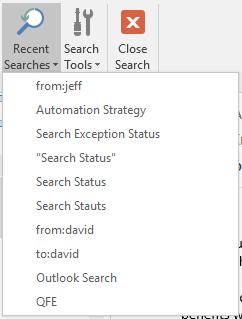 De knop recente zoekopdrachten