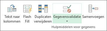 Gegevensvalidatie bevindt zich op het tabblad Gegevens in de groep Hulpmiddelen voor gegevens