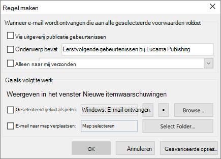 Een regel maken in Outlook
