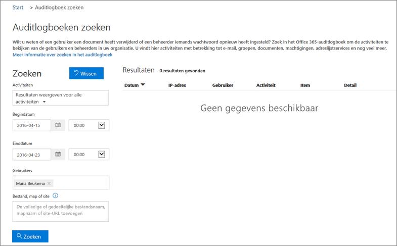 Office 365-activiteitenrapport met alle activiteiten voor een extranetpartner