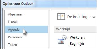 Klik in het dialoogvenster Opties voor Outlook op Agenda