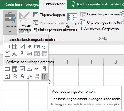 ActiveX-besturingselementen op het lint