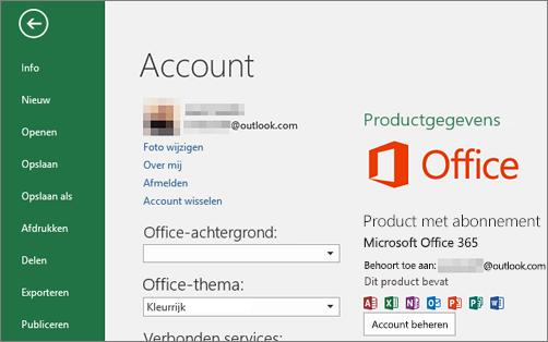 Het Microsoft-account dat is gekoppeld aan Office wordt weergegeven in het Account-venster van een Office-toepassing