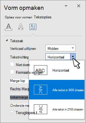 Deelvenster teksteffecten met tekstrichting geselecteerd