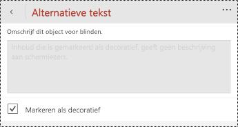 De optie markeren als decoratief geselecteerd in het dialoogvenster alternatieve tekst voor PowerPoint voor Windows Phone.