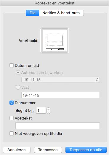 Toont het dialoogvenster Koptekst en voettekst in PowerPoint 2016 voor Mac