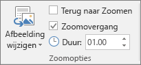 Hiermee wordt de groep Zoomopties weergegeven op het tabblad Opmaak voor een sectie of diazoom in PowerPoint.