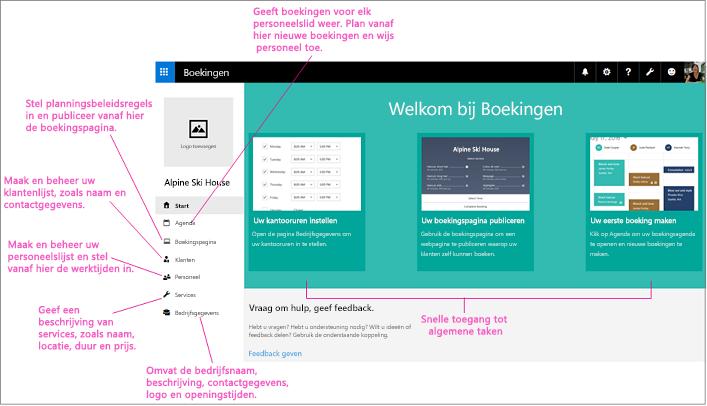 Startpagina van het scherm Boekingen waarop de logoruimte en het linkernavigatiedeelvenster zijn gemarkeerd