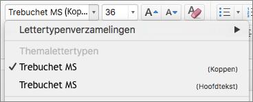 Schermafbeelding van de opties voor themalettertypen voor koppen en hoofdtekst, die beschikbaar zijn via het vervolgkeuzemenu Lettertype in de groep Lettertype op het tabblad Start.