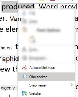 Het contextmenu in Word met de optie Slim zoeken geselecteerd.