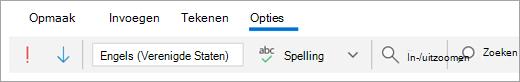 Schermafbeelding van het tabblad Opties