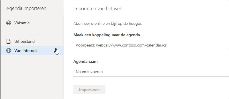 Een schermafbeelding van de optie Importeren van web