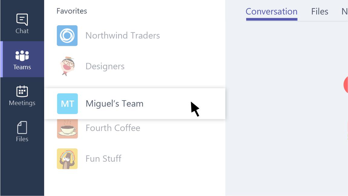 Een schermafbeelding van klikken en slepen van de naam van een team.