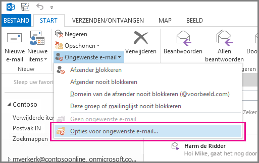 Het menu Ongewenste e-mail in Outlook 2013