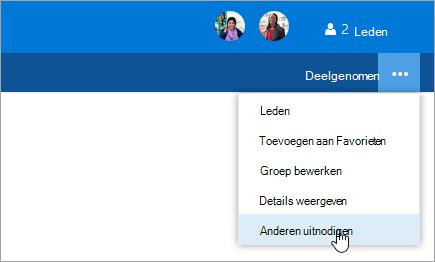Schermafbeelding van de knop anderen uitnodigen in het menu groepsinstellingen.