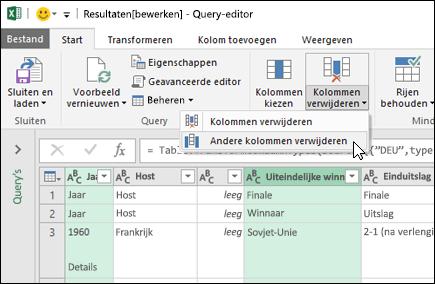 Power Query > Queryeditor > kolommen verwijderen